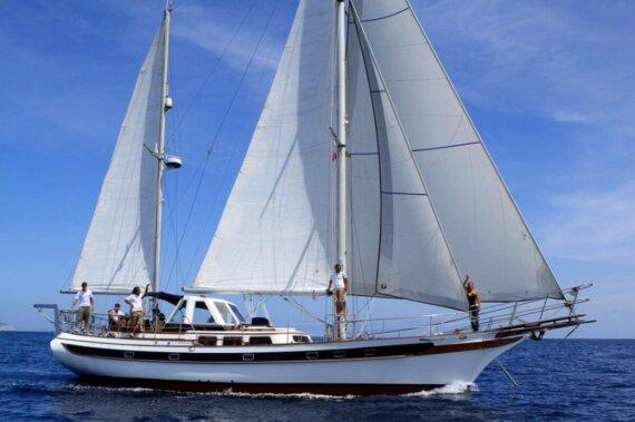 Ketch-sailingboateivissa